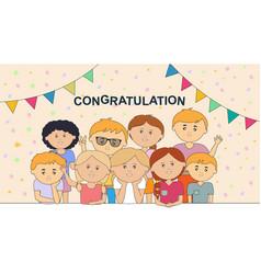 Funny childrens who congratulate you vector