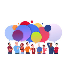 Group diverse people with colorful chat bubbles vector