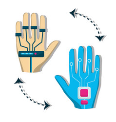 hand with element to virtual reality entertainment vector image