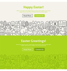 Happy Easter Line Art Web Banners Set vector