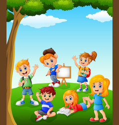 happy kids learning on the field vector image