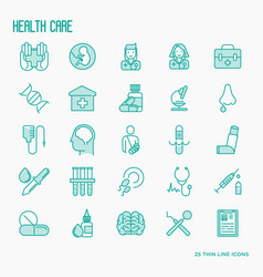 health care thin line icons set vector image