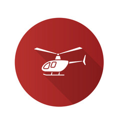 helicopter flat design long shadow glyph icon vector image