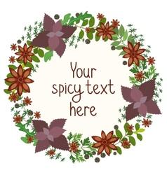 Herbs and spices circular wreath vector image