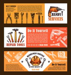 Home repair sketch work tools banners vector