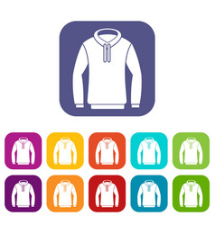 Hoody icons set vector