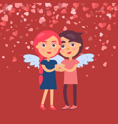 hugging boyfriend girlfriend in angel wings vector image