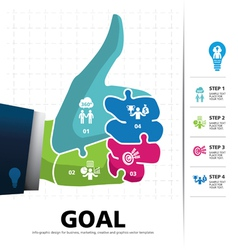 info graphic Template with businessman hand jigsaw vector image