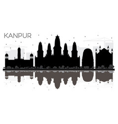 kanpur india city skyline black and white vector image