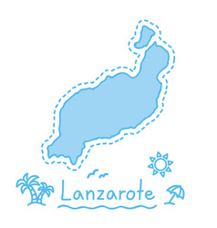 lanzarote island map isolated cartography concept vector image