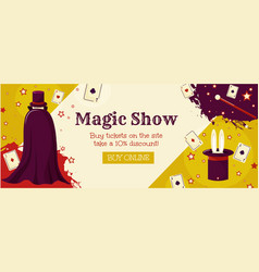 magic show a banner template with a wizard cards vector image