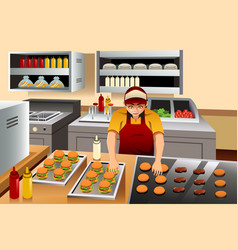 man cooking burgers vector image