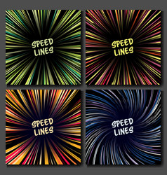 Manga speed lines set layout for comic vector