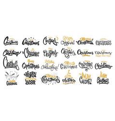 merry christmas lettering design set vector image