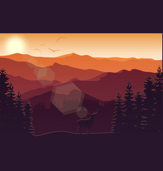 Mountain landscape with deer and forest at sunset vector