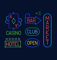 neon signs set colorful electric pointers vector image