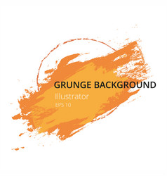 Orange hand paint artistic dry brush stroke grunge vector