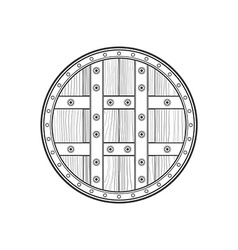 outline medieval round shield icon vector image