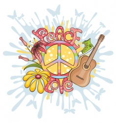 peace and love background vector image vector image