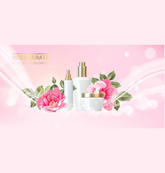 peony cosmetic label organic cosmetic and skin vector image