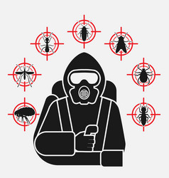 Pest control exterminator in protective suit vector