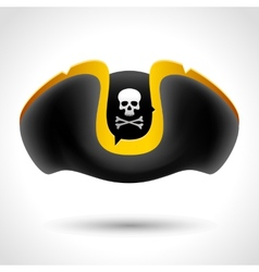 Pirate hat with skull and crossed bones vector