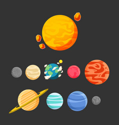 planet icon set design black background ima vector image