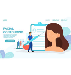 plastic surgery web page for facial contouring vector image