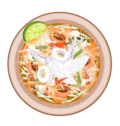 Plate of Green Papaya Salad with Cooked Squids vector