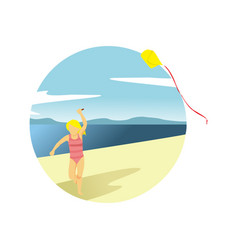 playing kite at beach summer activity scenery vector image