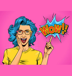 pop art beautiful surprised woman vector image