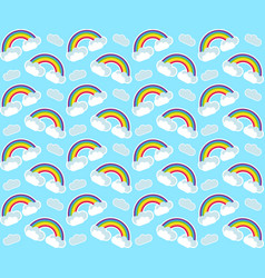 Rainbow seamless pattern colorful children s vector
