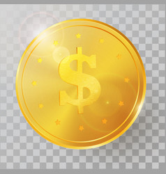 realistic 3d golden coin vector image
