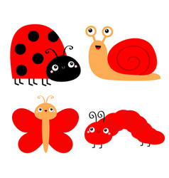 red insect icon set butterfly caterpillar ladybug vector image