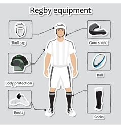 Regby player uniform and equipment vector image