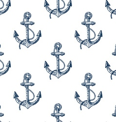 Seamless pattern with hand drawn anchors vector image