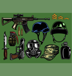 Set military objects vector