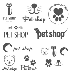 Set vintage logo and logotype elements for pet vector