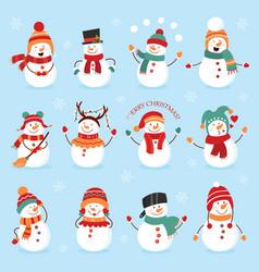 set winter holidays snowman cheerful snowmen vector image