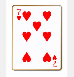Seven hearts playing card vector