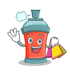 Shoping aerosol spray can character cartoon vector
