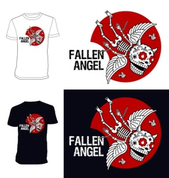 Skeletons T shirt Fallen angel vector image