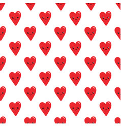 Smiling red heart characters seamless pattern vector