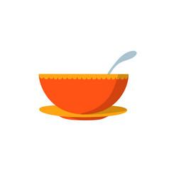 soup bowl flat design vector image