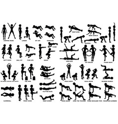 sport exersice silhouettes of woman doing vector image