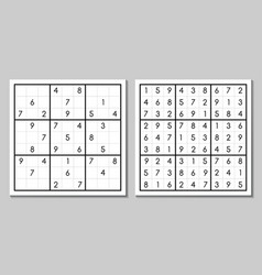 Sudoku with the answer puzzle vector