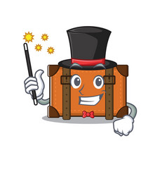 Suitcase with in cartoon magician shape vector