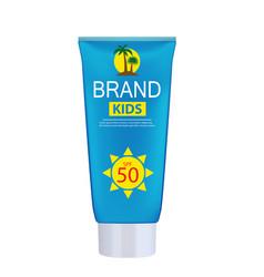 Sun care cream bottle tube template for ads vector