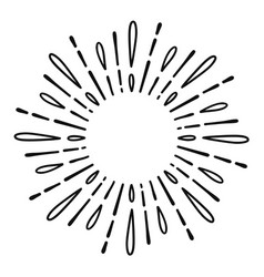 sunburst doodle line art hand drawn water splash vector image