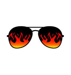 Sunglasses fire flames lens template vector